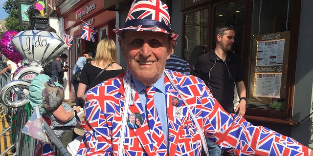 Terry Hutt, 83, has camped out for previous royal weddings and is ready to celebrate Prince Harry and Meghan Markle on Saturday.