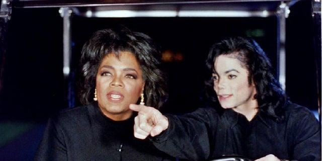 Oprah Winfrey with Michael Jackson.