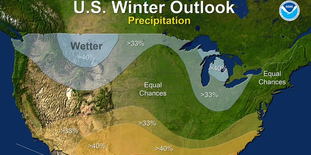 This map provided by NOAA shows the winter precipitation outlook for the U.S. Federal forecasters say thanks to a nascent La Nina it is likely to be warmer and drier than normal down south, colder and wetter up north and in the middle it's hard to say what's going to happen.