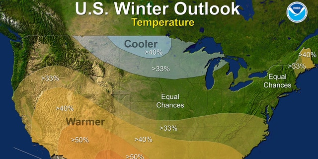 This map provided by NOAA shows the winter temperature outlook for the U.S. Federal forecasters say thanks to a nascent La Nina it is likely to be warmer and drier than normal down south, colder and wetter up north and in the middle it's hard to say what's going to happen.