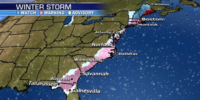 Winter Storm Warnings stretch from Florida to New England.