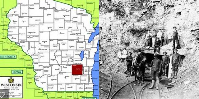 Dodge County, Wisc., marked in red on map at left, is the home of iron mines dating back more than a century.