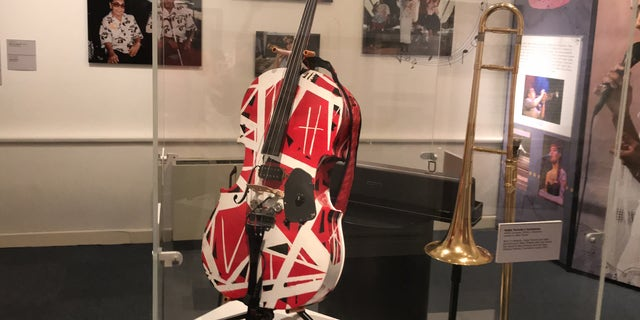 The 'Van Halen' cello sits on display at the New Orleans Jazz Museum. The instrument was loaned to the museum by locally based jazz cellist Helen Gillet.