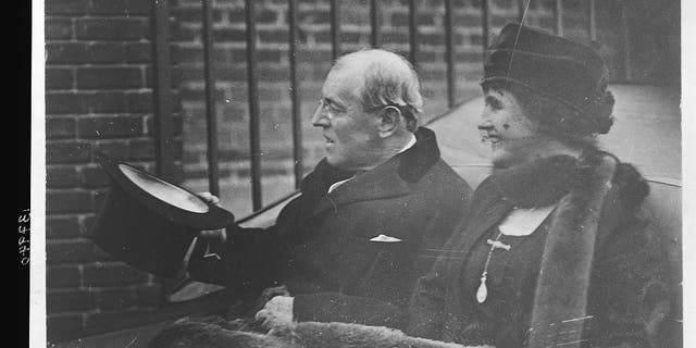 Woodrow Wilson and Edith Wilson participating in Armistice Day festivities