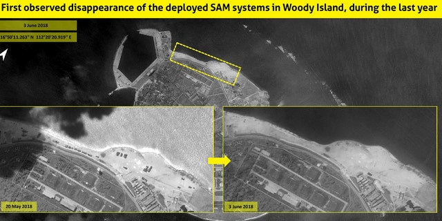 Satellite images taken on May 20 showed two new launchers on the northern shore of the disputed island, next to a radar system, all covered by a camouflage net. But recent images taken on Sunday by ImageSat International show that the HQ-9 systems and the camouflage nets have been removed.