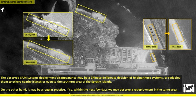 New images show China apparently removed surface-to-air missile systems from the contested islands in the South China Sea.