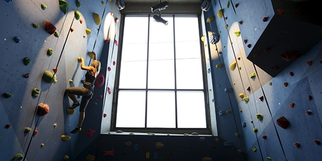 A Google employee scales the climbing wall inside the gym of Google's Canadian engineering headquarters in Kitchener-Waterloo.