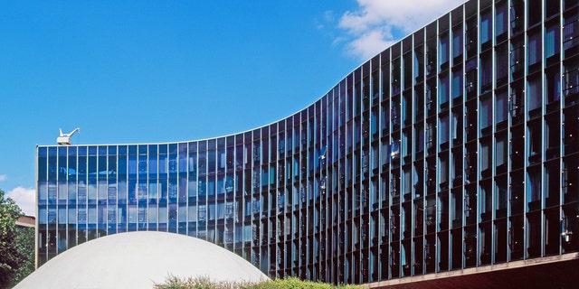 AW6WC2 French Communist Party Headquarters, Paris, 1967 - 1972. Architect: Oscar Niemeyer