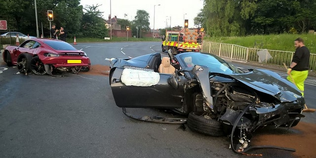 Thousands of pounds worth of damage has been done after two 'supercars' collided on a Sheffield roundabout. The incident took place on the Tinsley roundabout in Sheffield at about 8pm Sunday evening. RPYCRASH - A £300,000 wreckage of two super cars following a Fast and Furious-esque collision between a Porsche and a Ferrari left one covered in CURRY