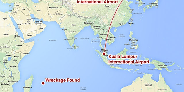 This map shows the intended route of MH370 and the area that plane debris was found in September 2018. MH370 was less than an hour into its flight from Kuala Lumpur to Beijing when it disappeared from radar. Investigators believe it veered off course and went missing somewhere in the southern Indian Ocean.