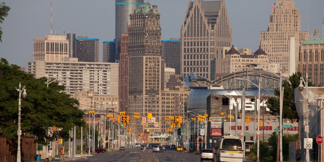 Skyline of downtown Detroit, Michigan looking down Grand River Avenue.