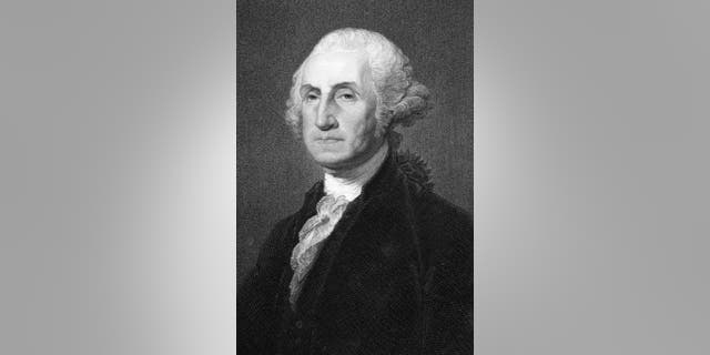George Washington (1731-1799) on engraving from 1837. First President of the U.S.A. during 1789-1797  and commander of the Continental Army in the American Revolutionary War during 1775-1783. Considered as Father of his country. Engraved by W.Humphreys after a picture by G.Stewart and published in The Gallery Of Portraits With Memoirs, London Charles Knight, Ludgate Street.