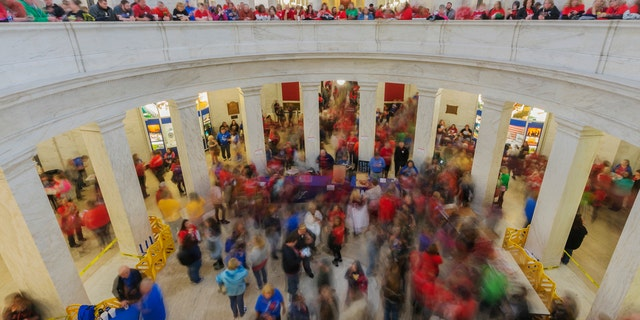 Thousands of teachers and school personnel fill the Capitol rotunda in Charleston, W.V., on Monday, March 5, 2018.