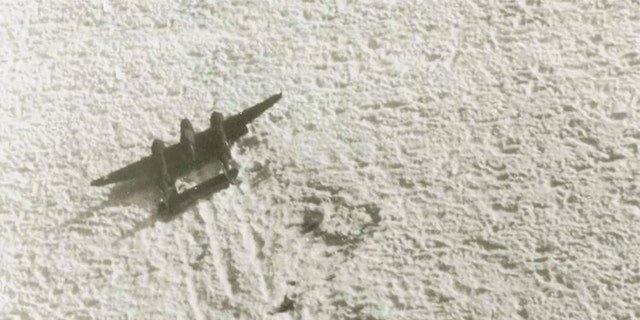 The Lost Squadron of airplanes included a group of two B-17 bombers and six P-38 fighters flying from the U.S. to Britain in July 1942 when they hit a storm and went down in remote Greenland. Here, a photo of the P-38 fighter on the ice.