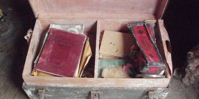 This photo, released by the Vermont State Police, shows a trunk with World War II memorabilia stolen in 2015 from the family of a World War II Army nurse.