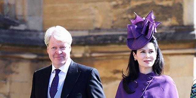 Charles Spencer, 9th Earl Spencer, and Karen Spencer arrive at the wedding of Prince Harry to Meghan Markle.