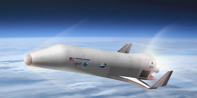Artist's concept of the space plane being designed by Northrop Grumman, with help from Scaled Composites and Virgin Galactic, for DARPA's XS-1 program.