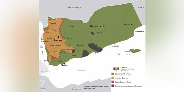 Map showing parties controlling Yemen