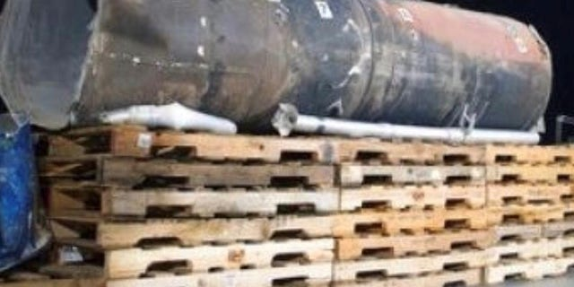 Alleged parts of an Iranian missile recovered in Saudi Arabia