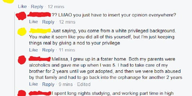 """Facebook user """"Melissa"""" told the Yale University admit that she was accepted into the prestigious school because of her """"white privilege."""""""
