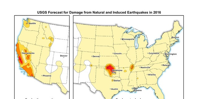 USGS forecast for damage from natural and induced earthquakes in 2016
