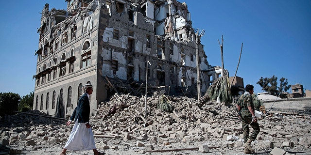 Destroyed building in Aden, Yemen, shows ravages of war.