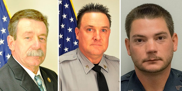 """Sgt. Randy Clinton, Sgt. Buddy Brown and Sgt. Kyle Cummings were wounded early Tuesday morning in York, S.C. when a gunman """"ambushed"""" them."""