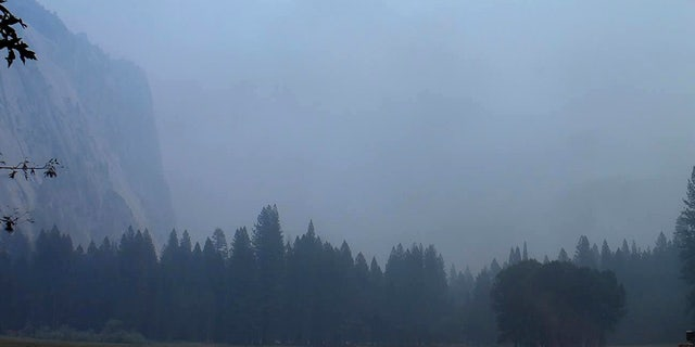 In this Wednesday, Aug. 1, 2018 image from a Yosemite Conservancy webcam, smoke from wildfires obscures the Ahwahnee Meadow at Yosemite National Park, Calif.
