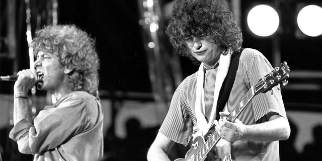 July 13, 1985: Singer Robert Plant, left, and guitarist Jimmy Page of the British rock band Led Zeppelin perform at the Live Aid concert at Philadelphia's J.F.K. Stadium.