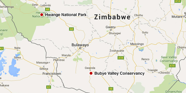 A map of Zimbabwe showing the location of the Hwange National Park where Cecil was shot and the Bubye Valley Conservancy.