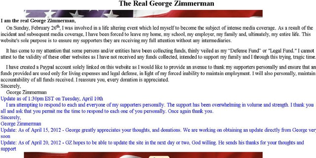 A screengrab from TheRealGeorgeZimmerman.com, which was shut down yesterday while Zimmerman's defense attorney takes control of raising funds for his legal costs.
