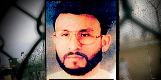 Abu Zubaydah framed headshot, image provided by US Central Command, over Guantanamo Bay US Naval Base, Cuba. (AP)