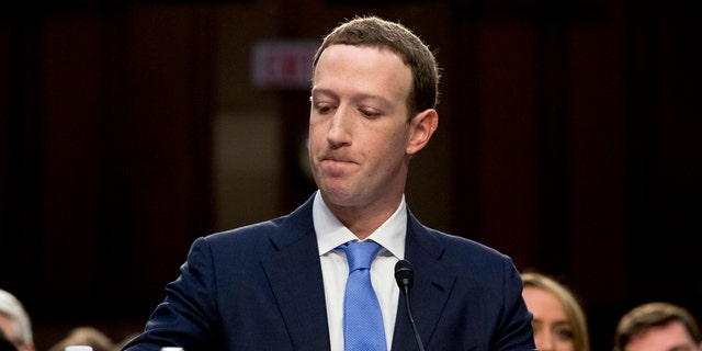 Facebook CEO Mark Zuckerberg gives testimony on Capitol Hill in April 2018.