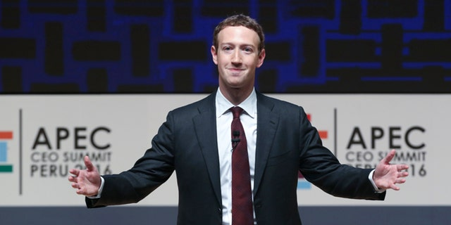 FILE -- In this Nov. 19, 2016, file photo, Mark Zuckerberg, chairman and CEO of Facebook, speaks at the CEO summit during the annual Asia Pacific Economic Cooperation (APEC) forum in Lima, Peru.
