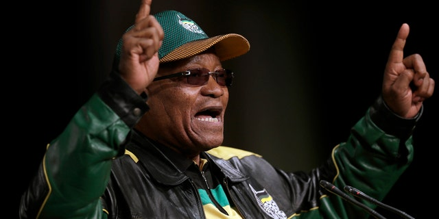 In this June 30, 2017 file photo South Africa's ruling African National Congress (ANC) party leader, President Jacob Zuma, gestures as he addresses party delegates, during the ANC policy conference in Johannesburg, South Africa.