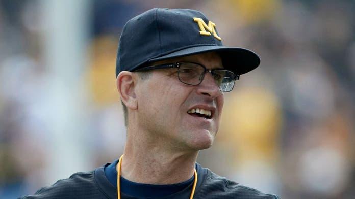 Michigan football coach Jim Harbaugh hit in head by ball off son's bat