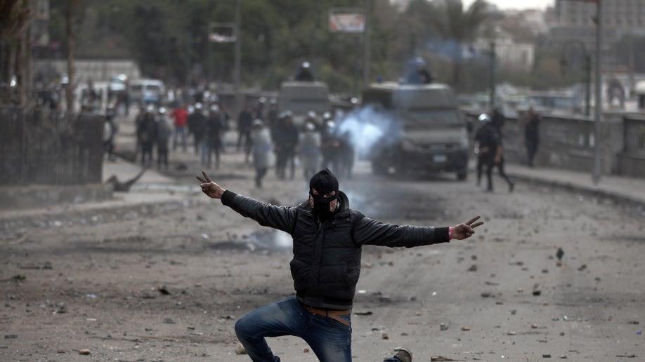 APTOPIX Mideast Egypt Black Bloc