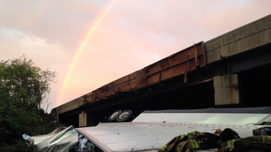 Truck Falls From Overpass