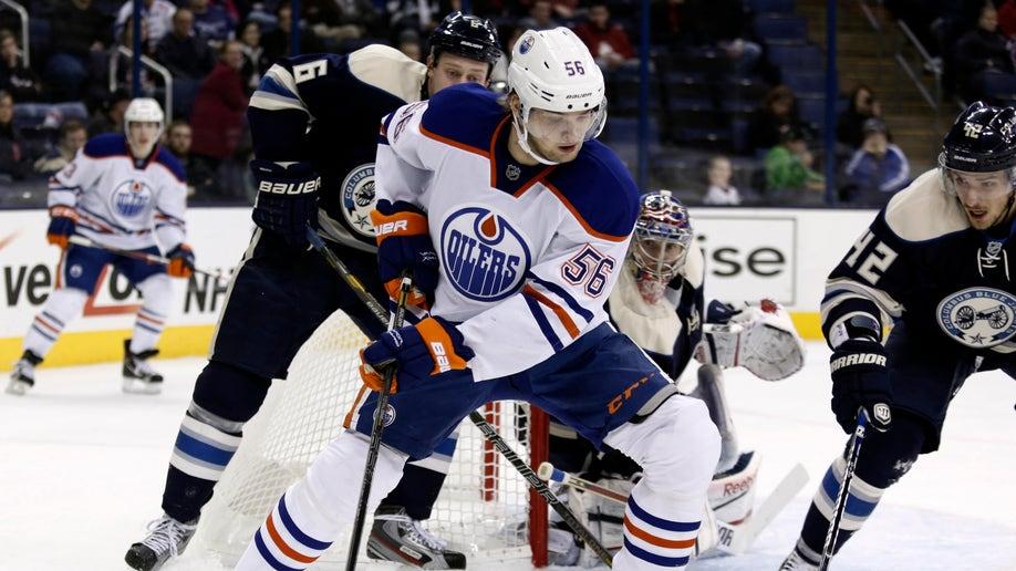 CORRECTION Oilers Blue Jackets Hockey