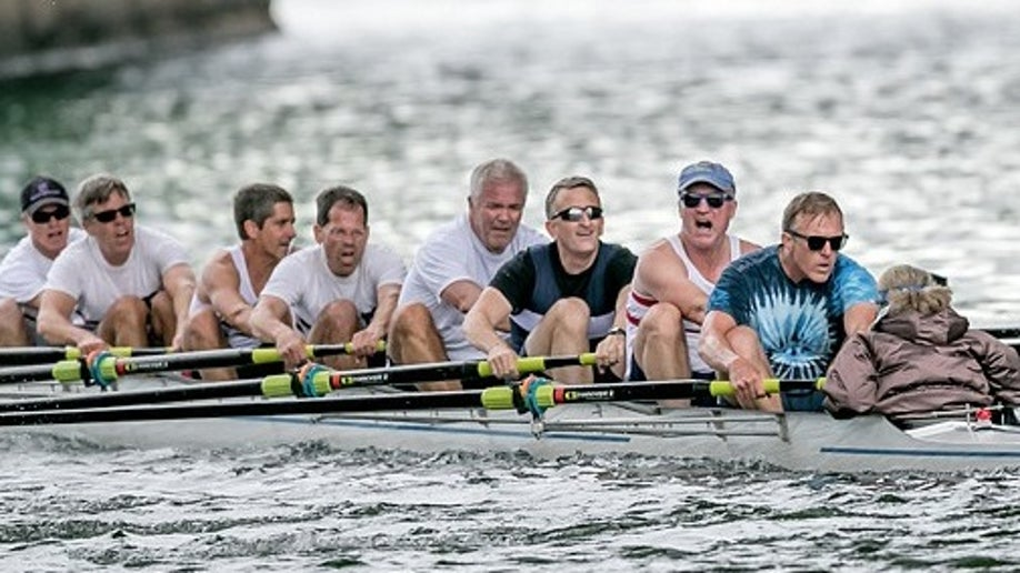 bob johnson rowing with team