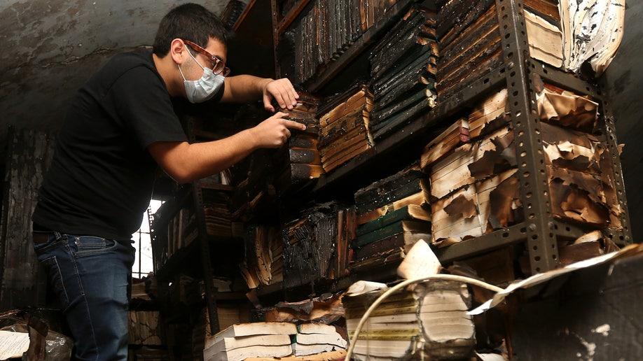Mideast Lebanon Library Fire