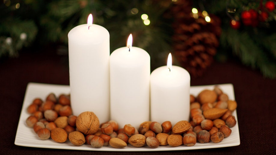 candles and nuts at Christmas