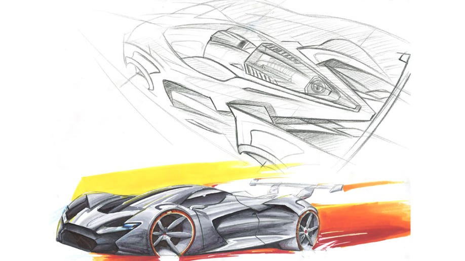 The second-place winning sketch for the FCA US Drive for Design competition, designed by Harrison Kunselman of Mount de Sales Academy in Macon, Georgia.