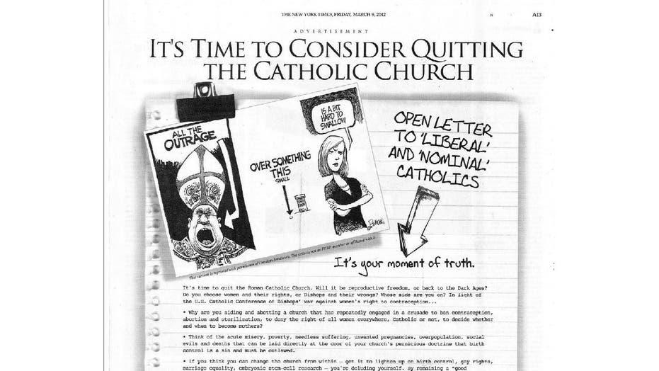 New York Times accused of Catholic bashing, double standard on religion