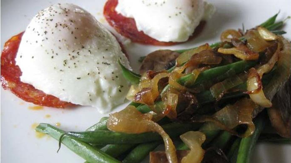 Poached Eggs with Green Bean Salad