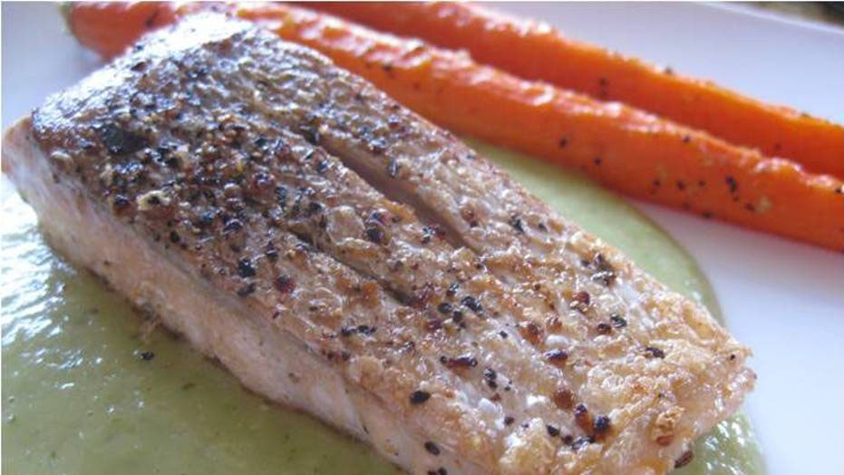 Salsa Verde Salmon with Roasted Carrots