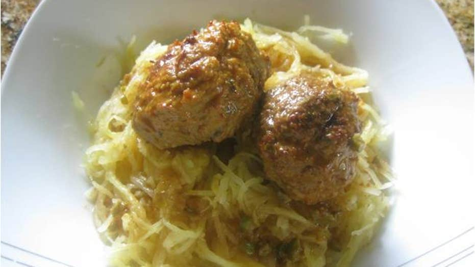 Chicken Meatballs in a Curry Broth with Spaghetti Squash