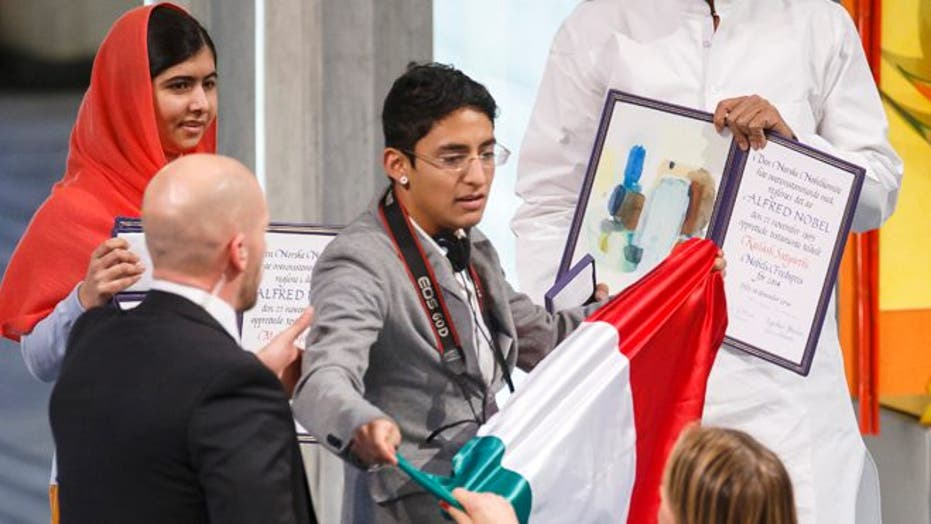 Mexican protester crashes Malala Yousafzai's Nobel Prize ceremony