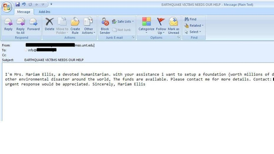 Spam Disaster Relief Emails