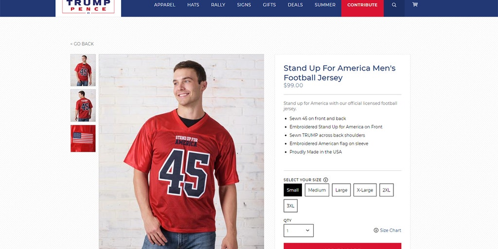 6df5c2defab Trump site's 'Stand Up for America' jerseys see 'brisk' sales as latest  attack on NFL kneelers | Fox News